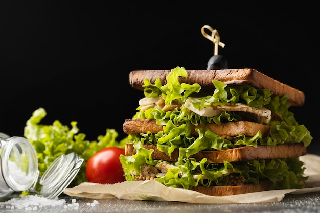 Front view of salad sandwich with tomato