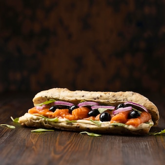 Front view of salmon sandwich with copy space