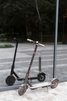 Front view of scooter outdoors