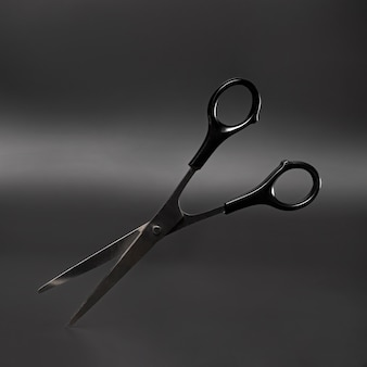 Front view of shiny metallic scissors