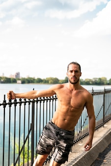 Front view of shirtless runner