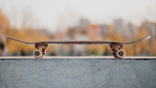 Front view of skateboard outdoors at the skatepark