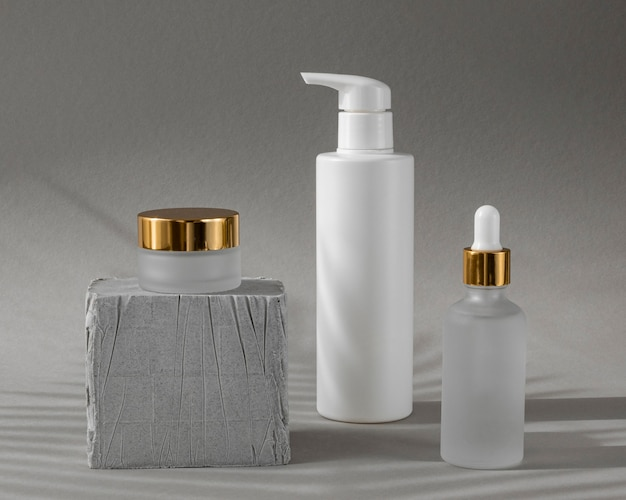 Front view skin products in different recipients arrangement