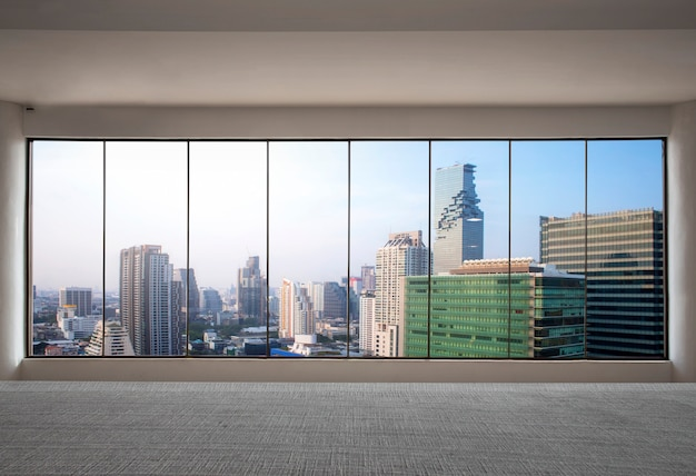 Front view skyscraper modern interior with city view from empty office