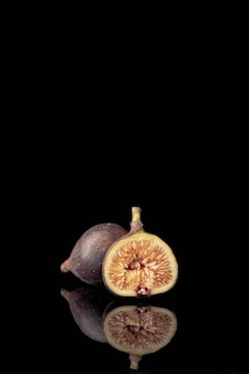 Front view of sliced fig with copy space