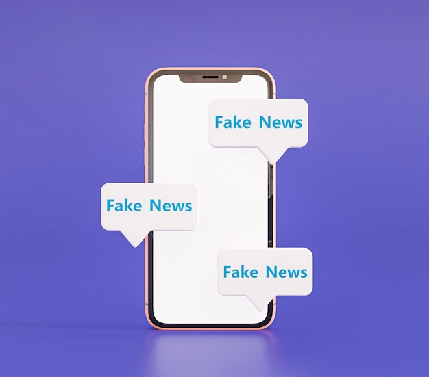 Front view of smartphone with fake news