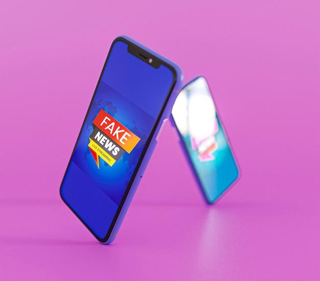 Vista frontale di smartphone con fake news