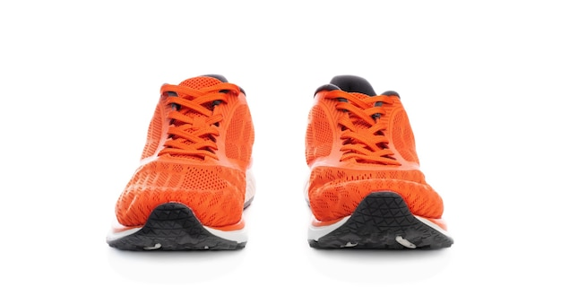 Front view of sneakers pair isolated on white