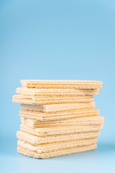 Front view of stack of wafers with copy space