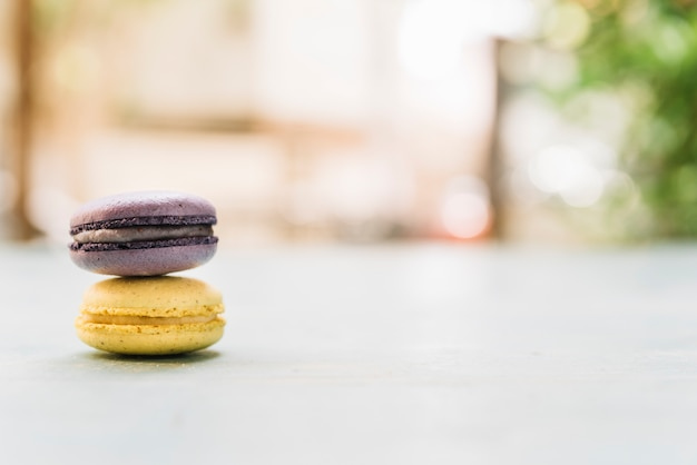 Front view stacked macarons
