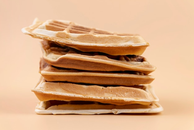 Front view of stacked waffles
