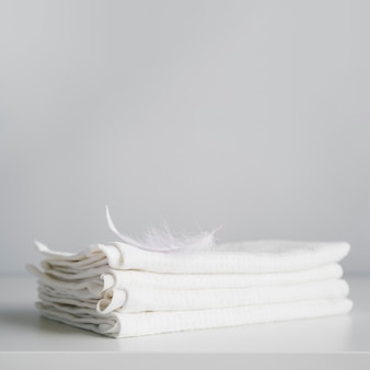 Front view stacked white towels