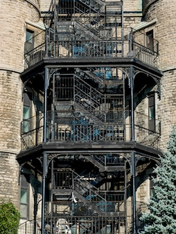 Front view of staircases of a building, golden square mile, montreal, quebec, canada