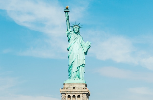Front view of statue of liberty in new york (usa)