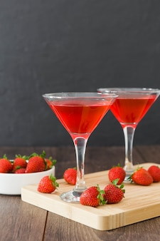 Front view of strawberry cocktails