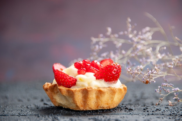 Front view strawberry tart dried flower branch on isolated background