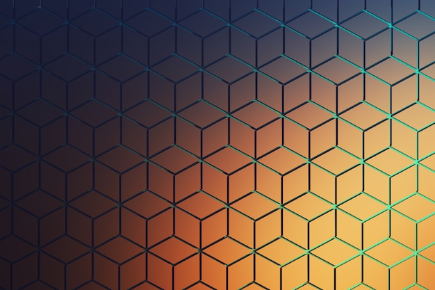 Front view of the surface with hexagonal pattern in dark blue and orange . hexagon shapes made of rhombus shapes arranged in repeating pattern with blue grooves.