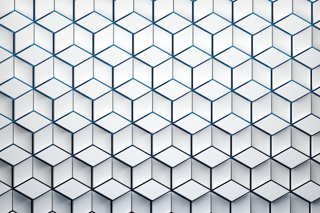 Front view of the surface with hexagonal pattern. white hexagon shapes made of rhombus shapes arranged in repeating pattern.