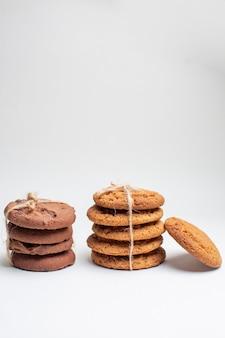 白いクッキー デザート ティー写真ケーキ シュガーの正面甘いビスケット