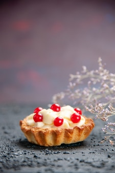 Front view tart with pomegranate on isolated background