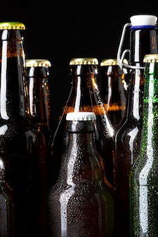 Vista frontale gustoso assortimento di birra americana