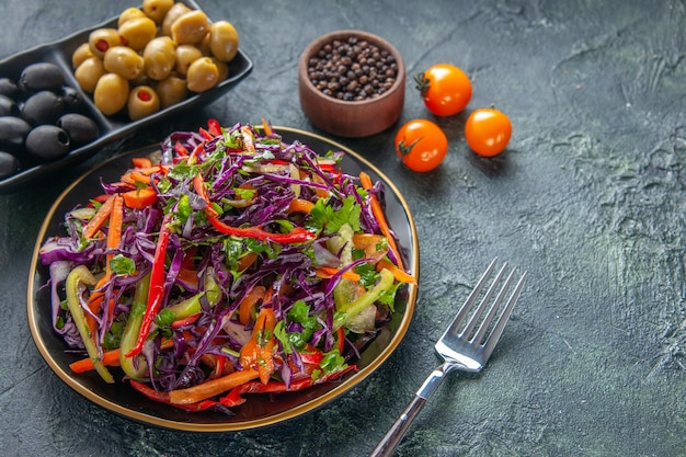 Front view tasty cabbage salad with olives on dark background meal health bread snack lunch holiday food diet