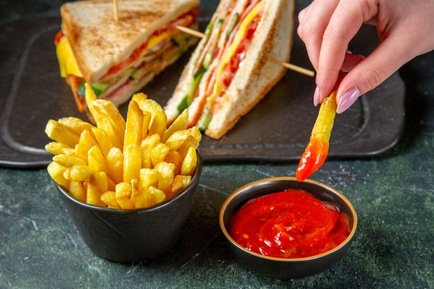 フライドポテトの暗い表面と正面図のおいしいハムサンドイッチ