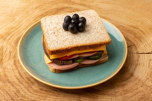 Front view tasty sandwich with olive ham tomatoes vegetables on bright inside blue plate