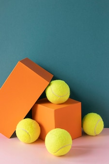 Front view of tennis balls