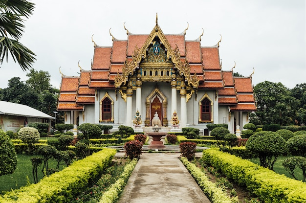 Front view of thai monastery (thai temple) decorated with thai art at bodh gaya, bihar, india.