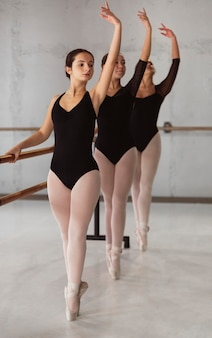 Front view of three ballerinas rehearsing while wearing leotards