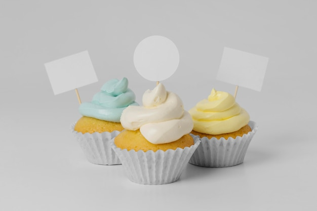 Front view of three cupcakes