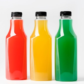 Front view of three juice bottles