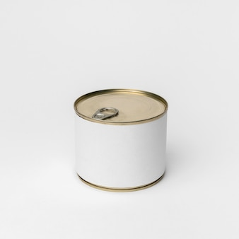 Front view tin can packaging with white label
