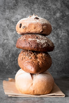 Front view tower of breads mix