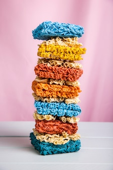 Front view tower of colorful ramen noodles