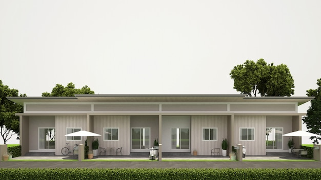 Front view townhouse design for estate - 3d rendering