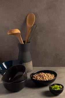 正面図伝統的なキッチンと豆