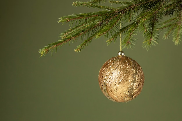 Front view tree ornament with copy space