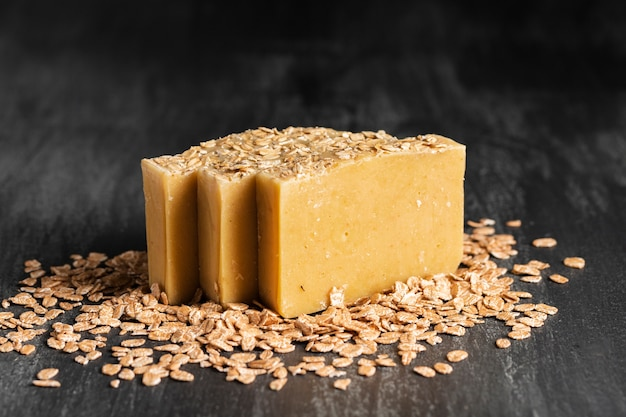 Front view type of soap made of oat flakes