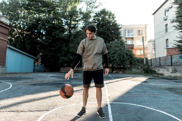 Front view urban basketball player