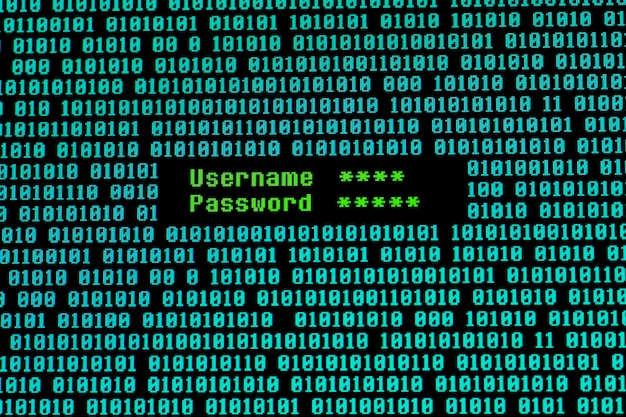 Front view of username and password with binary code