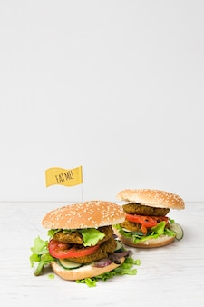 Front view vegan burgers with copy space
