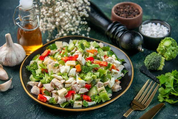 Front view vegetable salad with cheese on dark surface restaurant meal color health diet food fresh cuisine lunch