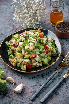Front view vegetable salad with seasonings and garlic on dark surface food restaurant fresh cuisine lunch diet health