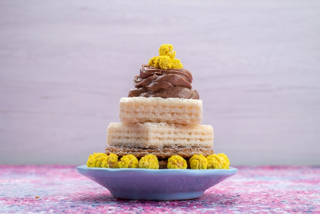 クリームと正面図ワッフルケーキ