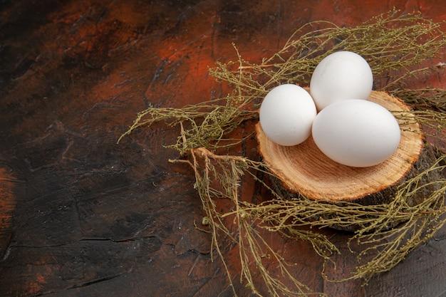 어두운 표면에 전면보기 흰색 닭고기 달걀