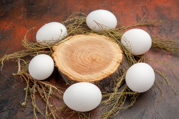 暗い表面の正面図白い鶏の卵