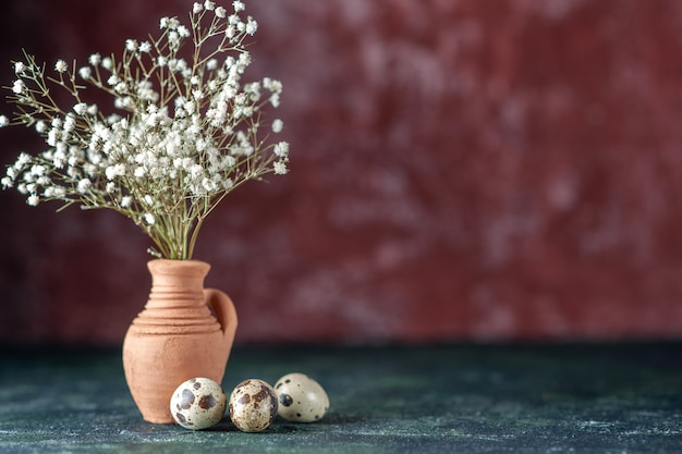 Front view white flowers with quail eggs on dark background beauty tree color photo nature food bird