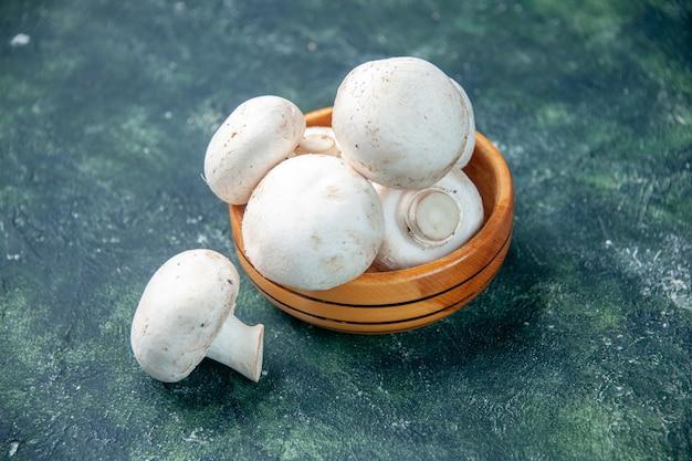 Vista frontale funghi bianchi su sfondo scuro